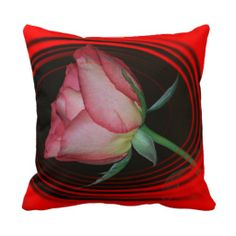 Red Rose VALENTINE'S PILLOW with Heart and Swirl
