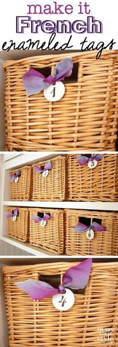 How-to-make-DIY-French enameled-metal tags to hang on baskets, gifts, and more. Metal labels for organizing.
