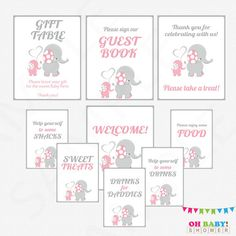 Pink and Gray Elephant Baby Shower Table Signs 9 by OhBabyShower
