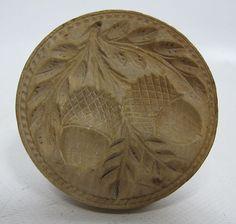 19th Century Folk Art Primitive Wooden Acorn Butter print