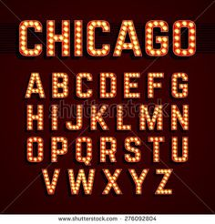 Broadway style light bulb alphabet. Vector. - stock vector