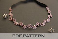 Tatting lace bracelet/hair band pdf pattern (Pumpkin Carriage)