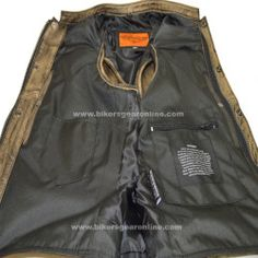 Mens Brown Leather Biker Club Vest