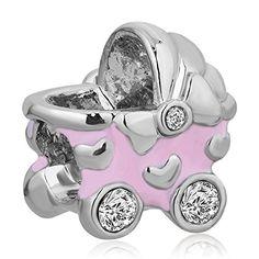 Baby Beförderung Charms Herz klar Geburtsstein Verkauf Billig Perlen für Pandora Chamilia Charms Armband - http://schmuckhaus.online/fit-pandora-style-charms/baby-befoerderung-charms-herz-klar-geburtsstein