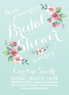 Printable Bridal Shower Invitation - Vintage Floral Invitation - Spring/Summer Bridal Shower. $15.00, via Etsy.