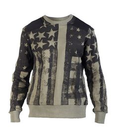 WAIMEA Crew sweatshirt All-over flag print design Solid color fabric patches on shoulders Inner terry lining