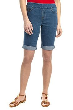 Rekucci Women's Ease In To Comfort Fit Stretch Jean Short (18,Md. Stone Wash)