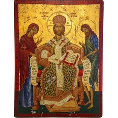 Greek Orthodox Icon, tempera on wood, 20th century from chateau on Ruby Lane
