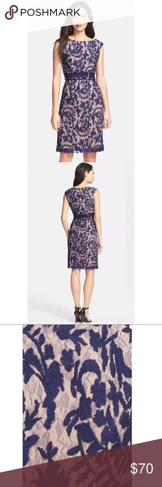 """NAVY ADRIANNA PAPELL LACE OVERLAY SHEATH DRESS New NAVY BOATNECK ADRIANNA PAPELL FLORAL LACE OVERLAY SHEATH DRESS US Size 2   Shadowy ferns and flowers float across the sheer overlay of a romantic sheath dress accented with pretty gathers at the nipped-in waist. 38"""" length  Hidden back-zip closure. Abbreviated cap sleeves. Lined. 100% nylon; 87% cotton, 13% nylon. Dry clean. By Adrianna Papell  BUST: 33 1/2"""" WAIST: 25"""" HIPS: 35 1/2""""  SOLD-OUT EVERYWHERE!  US Size-2  Please message me with…"""