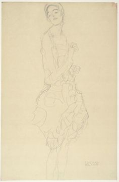 Standing Dancer with Her Head Tilted to the Side (Study for The Dancer), Gustav Klimt, Albertina, Vienna Drawings For Him, Love Drawings, Art Drawings, Pencil Drawings, Gustav Klimt, Franz Josef I, Vienna Secession, The Dancer, Graphite Drawings