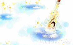 Kim Jong Bok Illustrations(Vol.03) - Cartoon Cute Fairy Girl  - Art Illustration : Wish in a bottle, Cute Liitle Girl 5