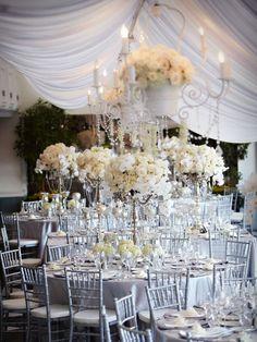 Platinum & Ivory Wedding From Karen Tran Florals Platinum Wedding, Ivory Wedding, Our Wedding, Dream Wedding, Wedding Reception, Wedding Stuff, Chic Wedding, Wedding Venues, Reception Decorations