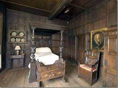 Another Scottish bedroom that looks very much like the set. Filled with Jacobean furniture – the oak paneling blends into the oak furniture.