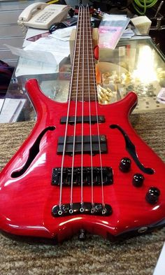 Red 5 String Warwick Bass Guitar