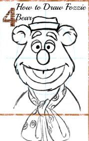 How To Draw Fozzie Bear printable with steps
