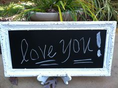 Shabby Chic Wedding Chalkboard with Easel by WhimsicalLoveBirds, $25.95