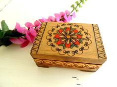 Vintage Wooden Box Carved Box Carved Wood Jewelry Box