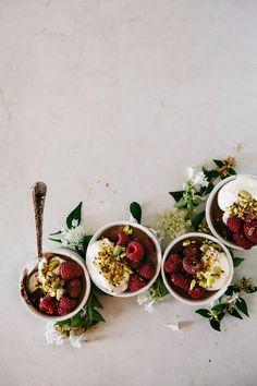 Salted Chocolate, Raspberry and Pistachio Pots de Crème.