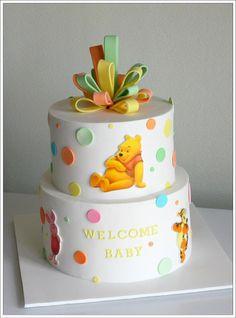 Baby Winnie Shower Cake  www.acakedream.com  #babyshower #winnethepooh