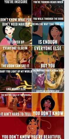 One direction's that's what makes you beautiful song to Disney princesses.
