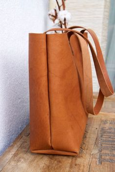 Camel Leather tote bag. Cap Sa Sal Bag. Handmade. by VermutAtelier