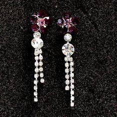 Riesige lila Blumen-Kristall mit glänzenden Chrom-Überzug-Troddel-Halskette Set NS1687B