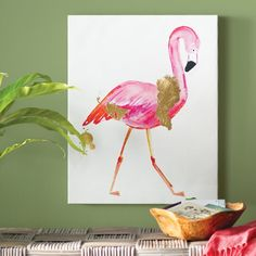 Glam Flamingo Painting Print on Wrapped Canvas