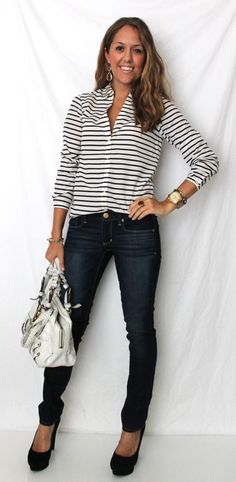 Stripped shirt, skinny jeans