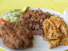 What a dining delight in #Barbados! Fried flying fish, macaroni pie, rice & peas, pickled cucumber and a slice of avocado! Truly yummy!  Find the best places to eat on the island at http://barbados.org/eat.htm