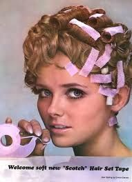"""Other pinner said: """"Pink hair tape...good for plastering down bangs at bedtime.  My older sisters used this ALL the time.  Didn't work on my curly hair!!"""" Me:  I tried so hard to straighten my shag with gobs of Dippity Do and this tape. Sometimes I'd still have tape marks on my face when I got to school. :-)"""