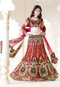 #Red #Silk Lehenga #Choli