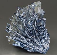 Stibnite and calcite -