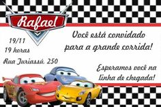 convites de aniversário infantil carros para imprimir