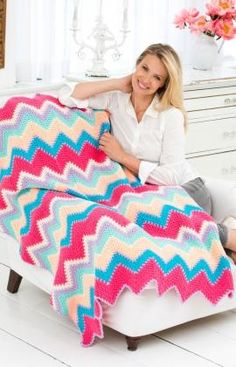 Sherbet Ripple Throw Crochet Pattern