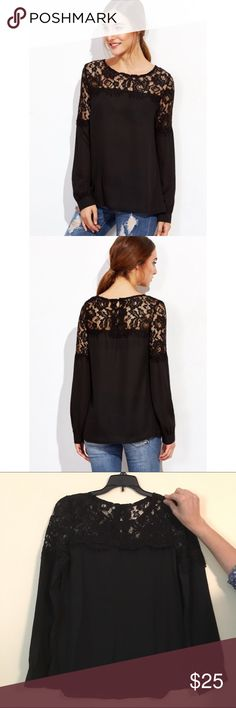Black Lace Insert Button Back Blouse Really beautiful blouse that can be dressed up or dressed down. Fits more like an XS. No trades. Price is firm. Tops