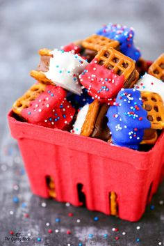 Red White and Blue Pretzel Bites - The Gunny Sack