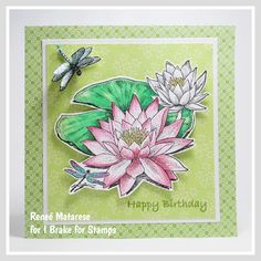 Hello and happy Saturday! Today I'm sharing a card that I made for my sister-in-law's birthday. I used three different stamps from. Dragonfly Stained Glass, Sister In Law Birthday, Handmade Birthday Cards, Water Lilies, Hero Arts, Happy Saturday, I Card, Stamps, Lily