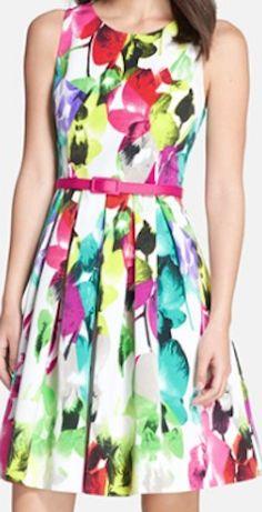 Multi color flora print dress
