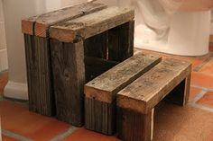 Pallet step stool. Awesome idea for the kids bathroom!