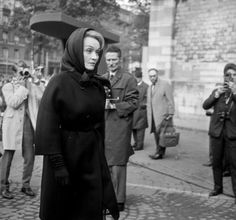 Marlene Dietrich at Edith Piaf's funeral. Photo credit: Roger-Viollet/Rex