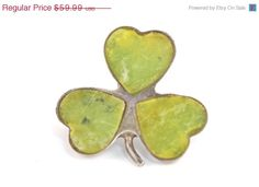 Valentine Sale Vintage Irish Sterling Silver Lucky Shamrock Pin set with Green Scottish Agate
