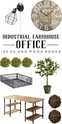 Industrial farmhouse office ideas and mood board. Sharing ideas that inspire me for my office makeover. | www.mydiyenvy.com