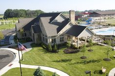 The Owner's Club at Highland Woods: pool, tennis and basketball courts. A new home community west of Chicago.