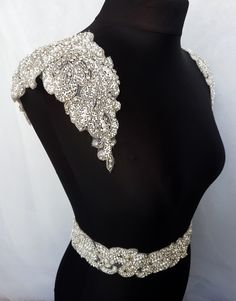 1 pair shoulders, Luxury applique, Shoulder Applique, Bridal Epaulettes, bridal applique, dress embellishment,  beaded applique, KAREN- SH by MagnificenceBridal on Etsy https://www.etsy.com/nz/listing/486057485/1-pair-shoulders-luxury-applique