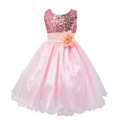 3-10Y Baby Kid Child Girls 5Color Sequins Party Dress Occasion Flower Bow Mesh Gown Formal Bridesmaid Princess Dresses #Affiliate
