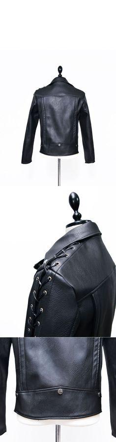 Eyelet Strap Sleeves Rider Jacket-Leather 107 - GUYLOOK