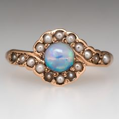 Victorian Crystal Opal Ring w/ Seed Pearl Accents 10K Gold