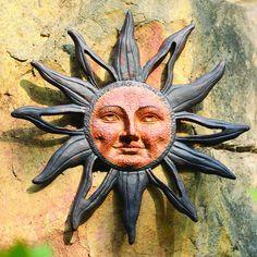 Rustic Sun Wall Decor Metal Garden Art Sculpture Patio Accent Outdoor Plaque NEW Garden Fence Art, Metal Garden Art, Sun Garden, Porch Garden, Garden Pool, Sun Moon Stars, Sun And Stars, Sun Wall Decor, Moon Decor