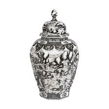 Extra Large Black and White Ginger Jar