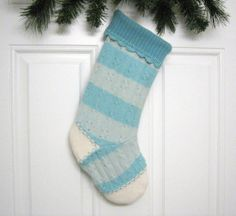 Christmas Stocking Handmade from Felted Aqua Aquamarine Striped Wool Sweaters by mmwolters (no.370)